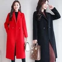 Autumn New Woolen Coat Korean Clothes Women Winter Jacket Women Blue Streetwear Plus Size Women Red Long Coat Black Camel Color