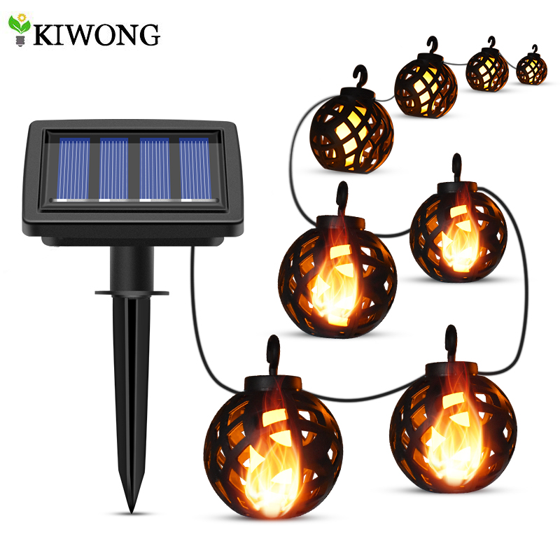 Solar String Lights LED Outdoor Waterproof Flickering Flame Hanging Solar Lantern Lamp with 8 Ball for Patio Garden Yard Solar Lamps  - AliExpress