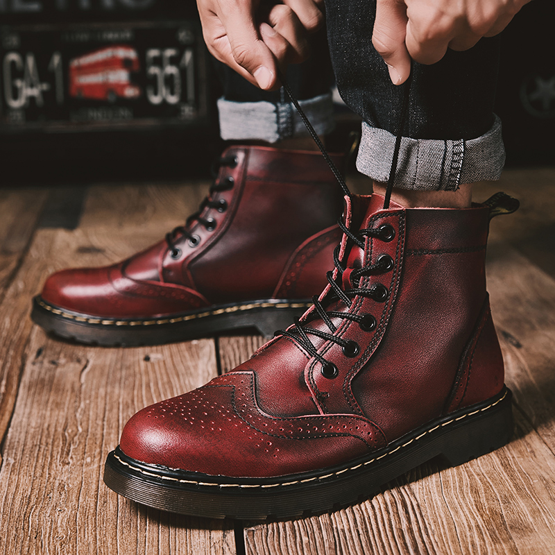 Luxury Leather <font><b>Men</b></font> Boots Big Vintage Brogue College Style <font><b>Men</b></font> <font><b>Shoes</b></font> <font><b>Winter</b></font> Casual Fashion Lace-up Warm Boots For Man Size 38-47 image