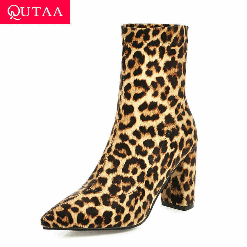 QUTAA 2020 Ekose Leopar Moda Sivri Burun Kadın Ayakkabı Sonbahar Kış Kare Yüksek Topuk Örgü Streç yarım çizmeler Boyutu 34- 40