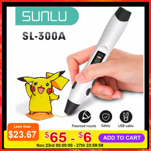 SUNLU SL-300A 3D Printing Pen Support PLA / ABS / PCL Filament Low Temperature 3D Pens Safe To Children Drawing Christmas Gift
