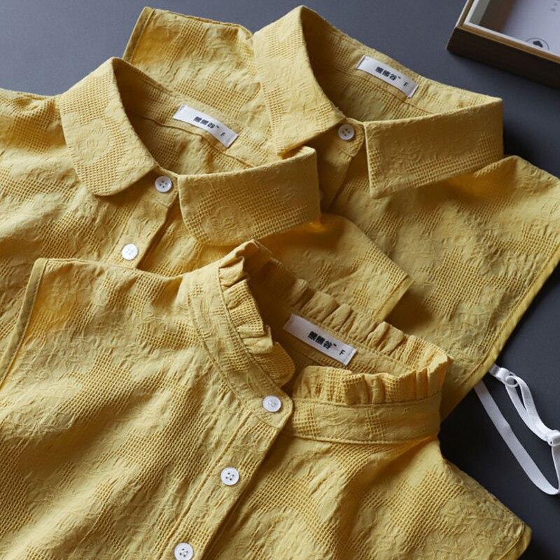 Yellow Women Fake Detachable Collar Cotton White Fake Collar Ladies Blouse Stand Lapel Choker False Collar Shirt Black Removable