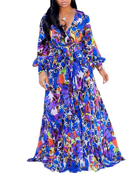 Blue Floral Print Chiffon Women Long Dress Summer 2020 Boho Elegant Belted Prom Party Dress Plus Size V-Neck Long Sleeve Robe