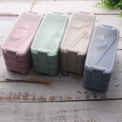 Créatif blé paille boîte à déjeuner anti-poussière portable trois couches boîte à déjeuner étudiant portable boîte à déjeuner vaisselle pour enfants