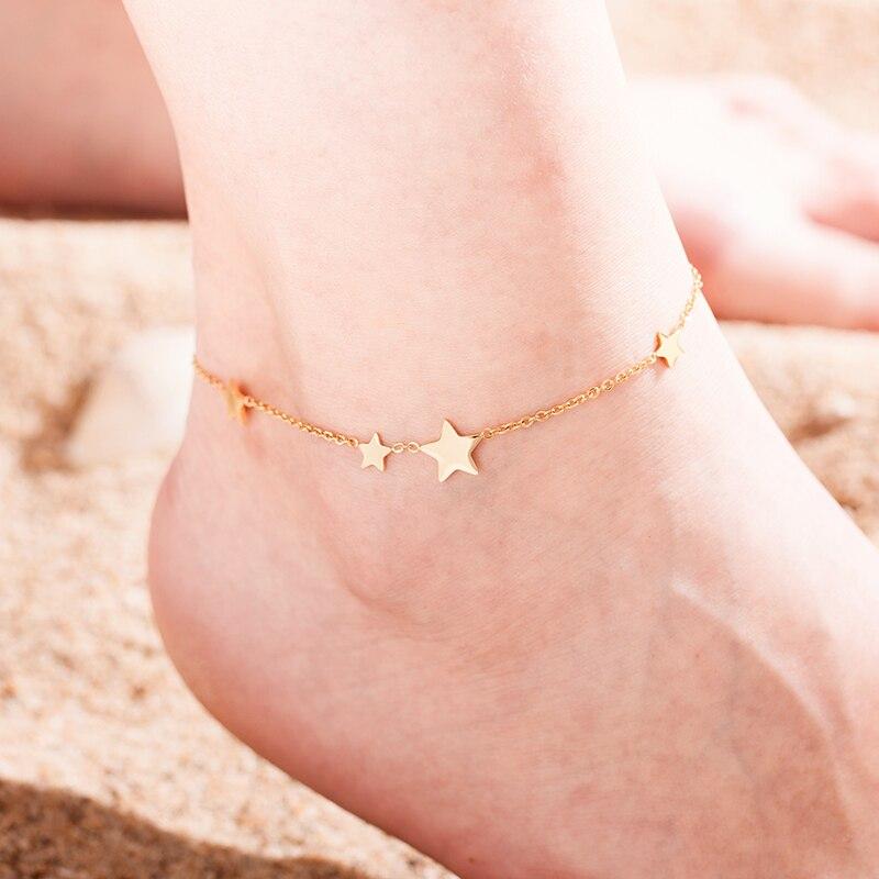 New Star Titanium Steel Anklet Bracelet Summer Yoga Beach stainless steelLeg Bracelet Anklet Women's Jewelry Gift Hypoallergenic