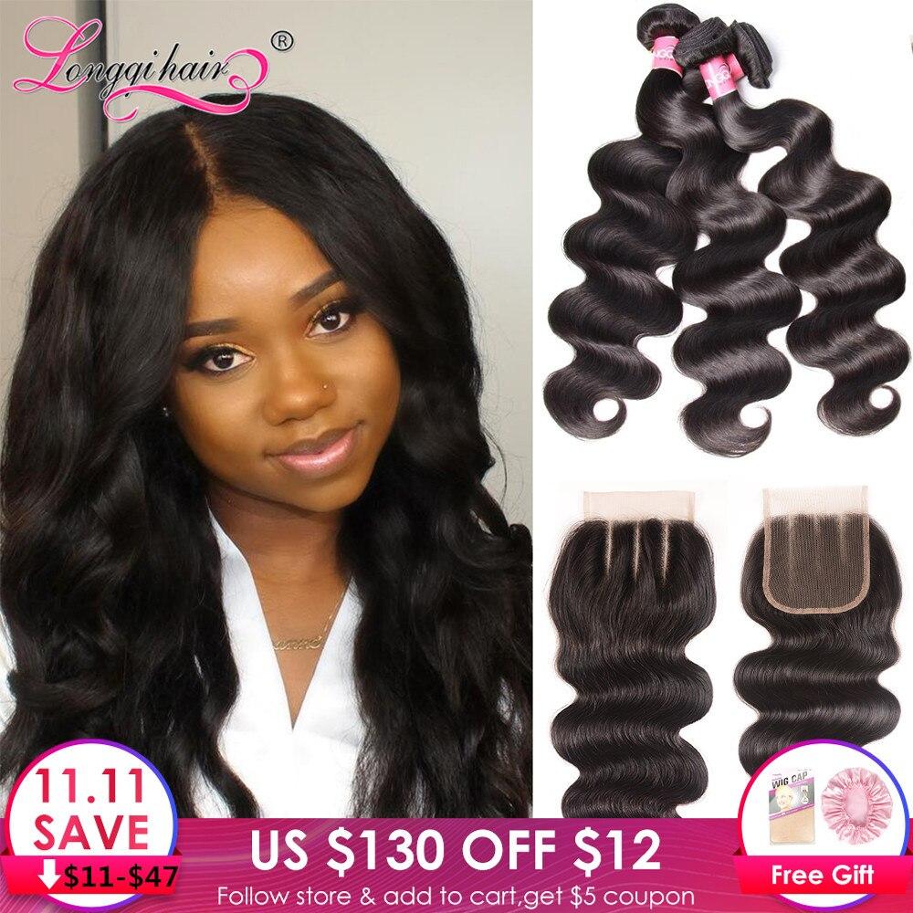 Longqi Hair Body Wave Bundles With Closure Peruvian Hair Bundles With Closure Remy Human Hair Bundles With Closure 4pcs/lot