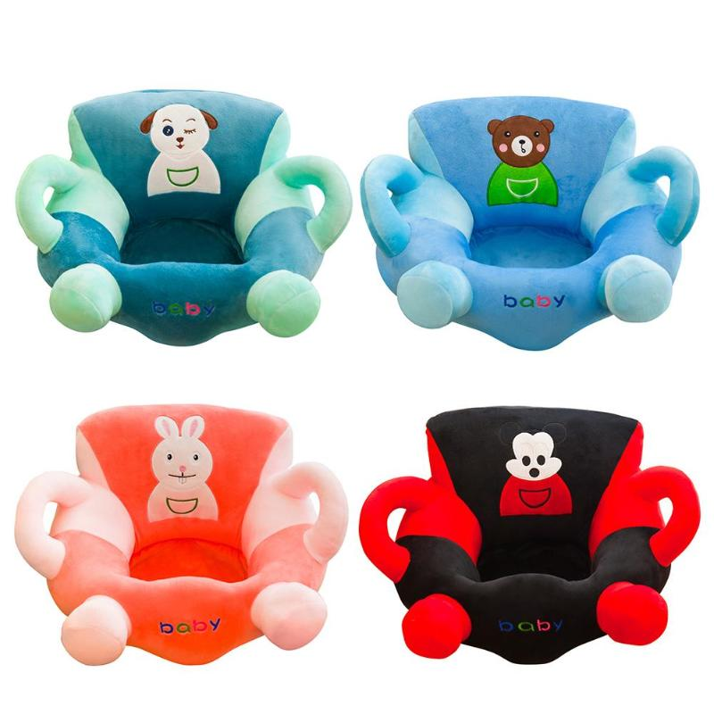 Kids Sit Learning Chair Cover Cartoon Anti-fall Comfortable Baby Soft Sofa Cover Baby Feeding Chair Case Without Filler