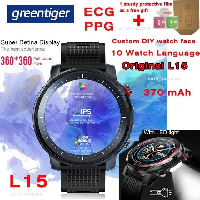 "L15 חכם שעון גברים מותאם אישית DIY שעון אק""ג PPG קצב לב צג פנס IP68 עמיד למים שיחת תזכורת Smartwatch PK L11 l13"