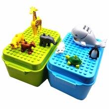 Compatível grandes animais blocos com caixa de armazenamento placa base capa tijolos ocos zoo macaco leão baleia para crianças montessori diy brinquedos