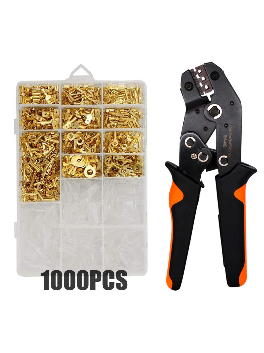 Spade Connectors Insulated-Sleeves-Kit Crimp-Terminals Electrical-Wire Male And