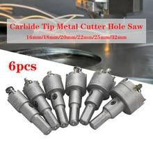 6 шт./компл. 16-32 мм стальной вольфрамовый карбид наконечник TCT буровое долото для отверстий резак для резки отверстий легированный резак для ...