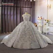 فستان زفاف رمادي فاخر على طراز دبي مع طلب مخصص مطرز بالكامل