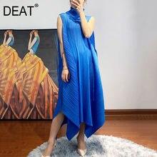 Deat女性プリーツノースリーブドレスビッグサイズタートルネック不規則なルースブルー高弾性ドレス2021夏のファッション15HT213