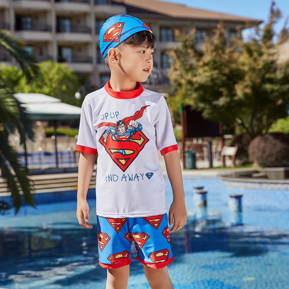 2019 New Style Hot Sales Split Type Bathing Suit Short Sleeve Shorts Hot Springs Cartoon Superman Stand Collar BOY'S CHILDREN'S