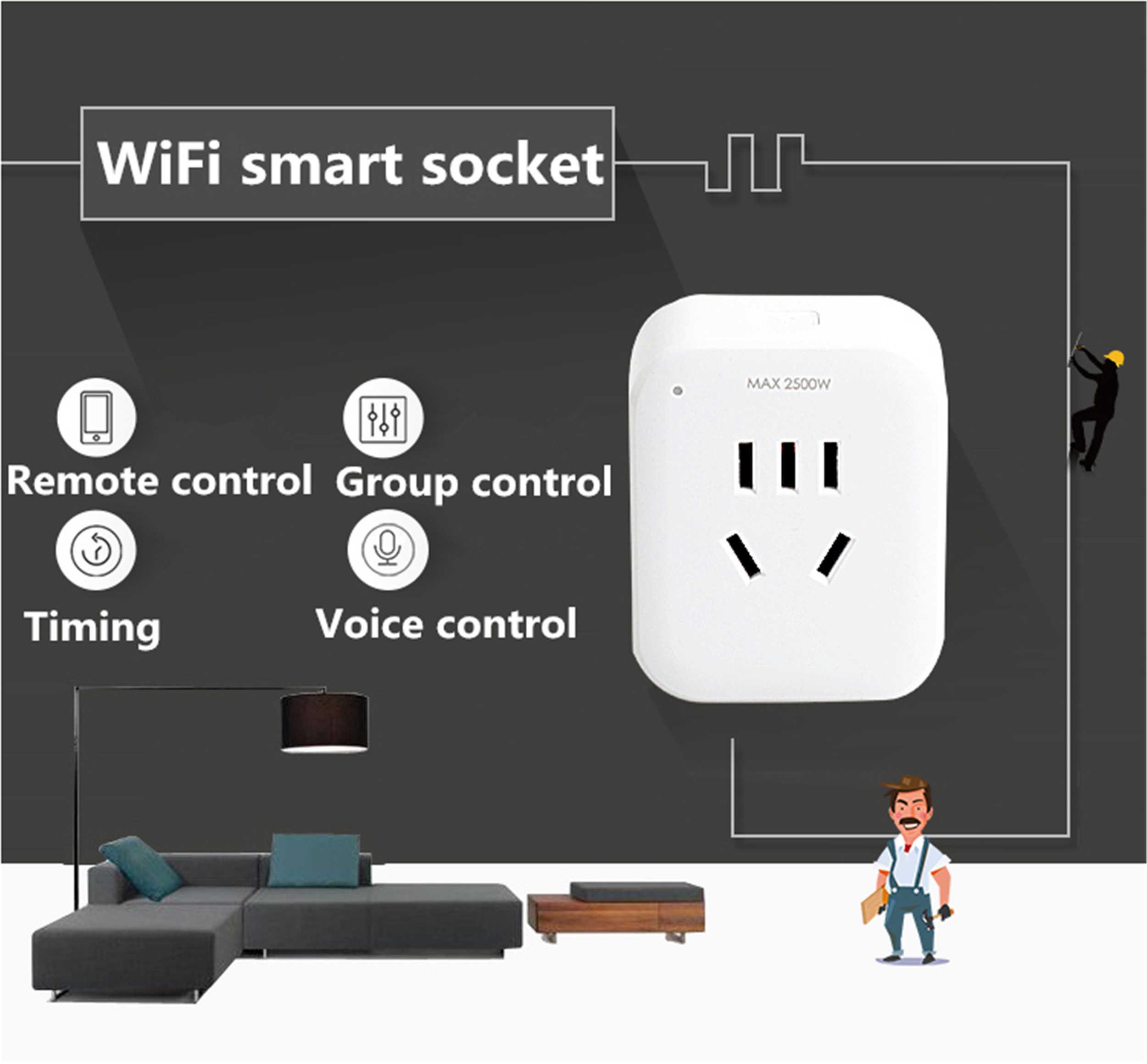 Dohome inteligentne gniazdo WiFi wtyczka pilot zdalnego sterowania sterowanie głosem inteligentna pracy w domu z platformą Homekit/Google domu