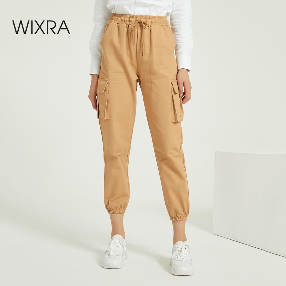 Wixra New Solid Casual Women's Cargo Pants High Waist Pockets 2020 Summer Ladies Cool Trousers Spring Autumn
