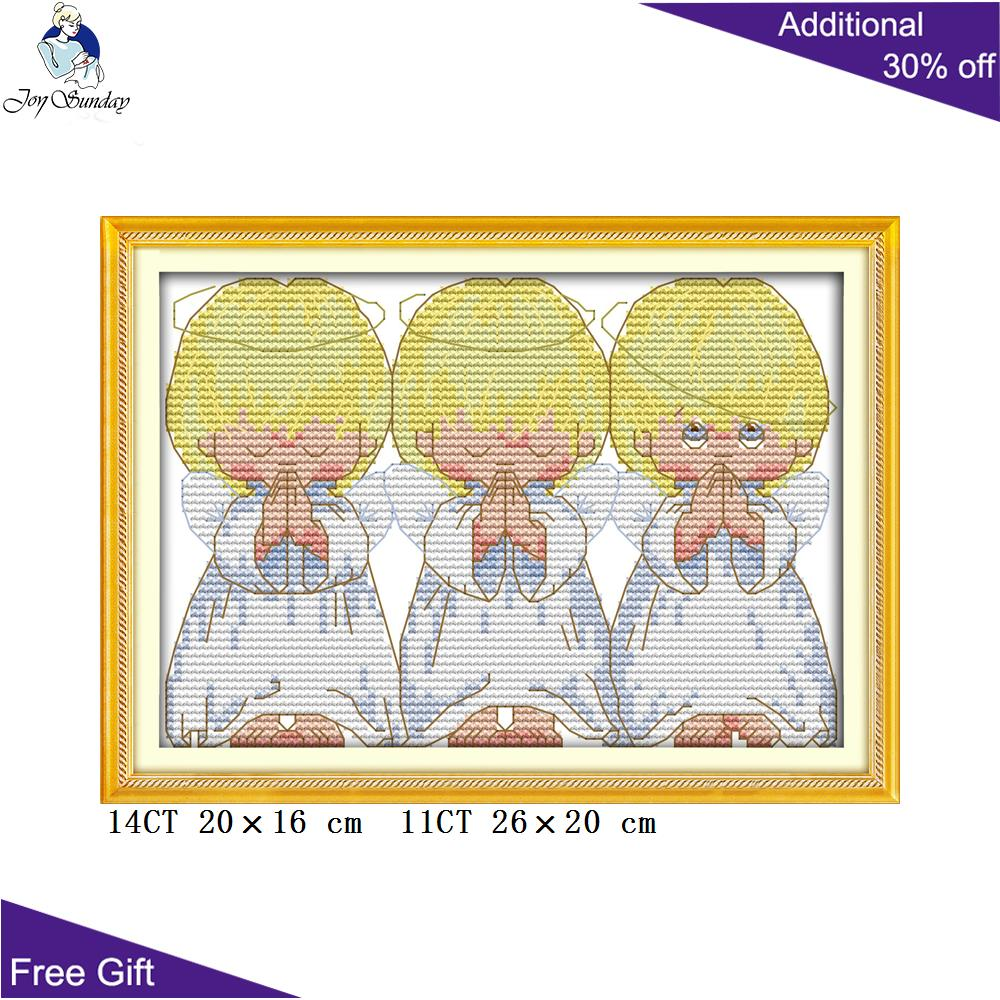 Joy Sunday Pray Little Angels Home Decoration R569(2) 14CT 11CT Counted And Stamped The Pray Little Angels Cross Stitch Kits