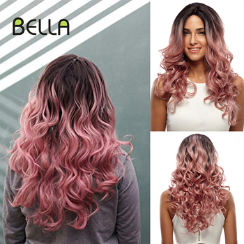 цена на Bella Ombre Pink&Blonde Wig Long Loose Wave Synthetic Lace Front Wig For Women Heat Resistant Fiber 22 Inches Lace Wig Cosplay