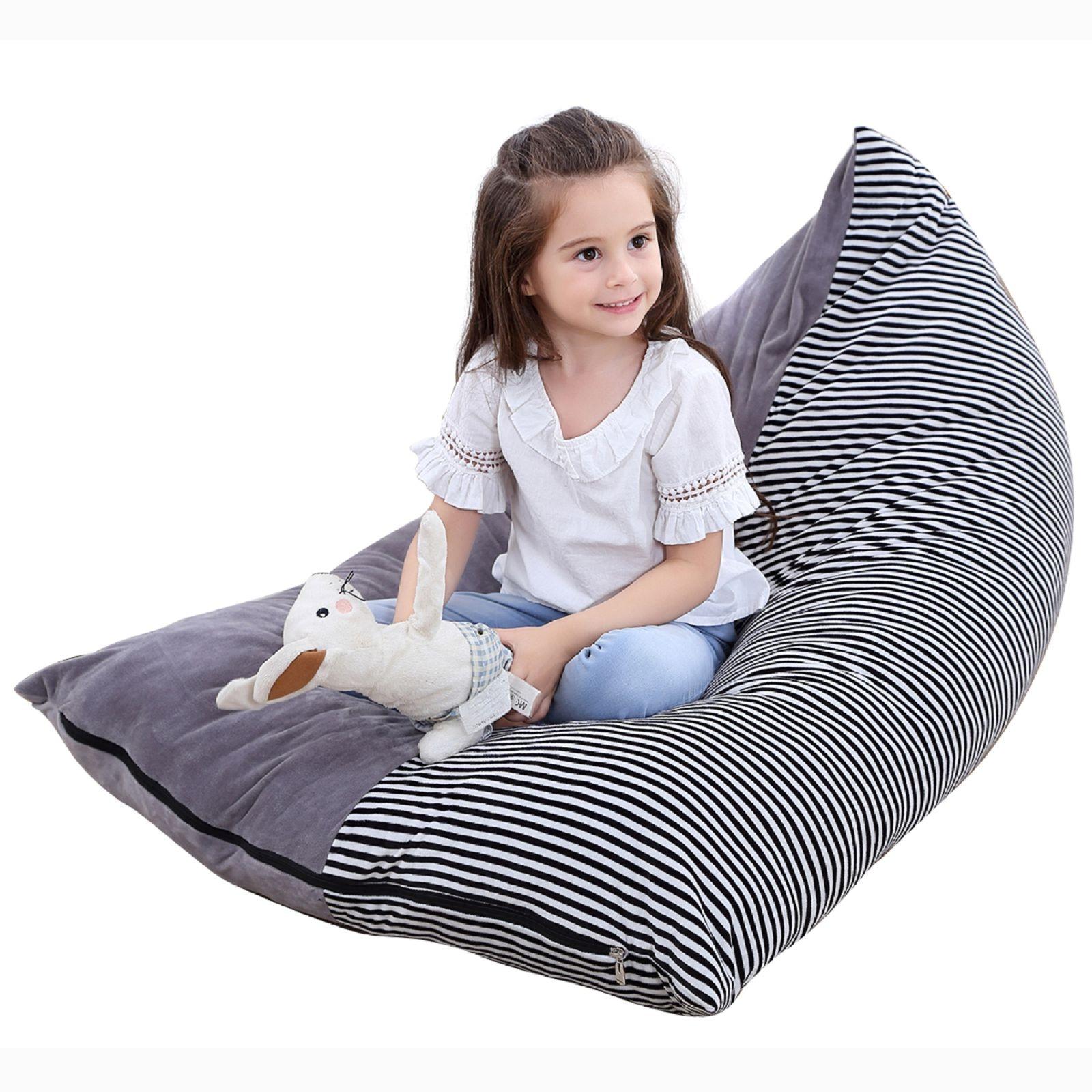 Stuffed Animal Storage Bean Bag Chair Extra Large Canvas Pouch Stripe Chair Sofa