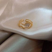 2021 coreano novo requintado dupla camada opala anel moda temperamento simples abertura anel jóias femininas