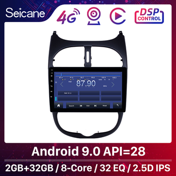 Seicane 9'' Android 9.0 2.5D Screen Car Radio Audio GPS Autoradio for Peugeot 206 2000-2014 2015 2016 support DVR OBDII DAB+ image