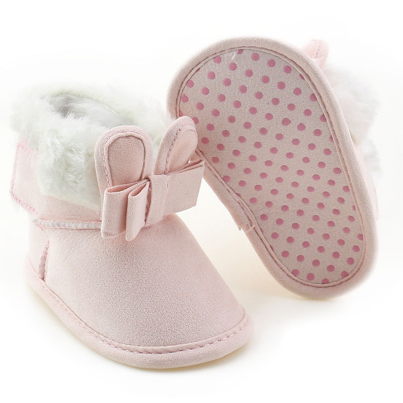 Newborn Baby Infant Toddler Girl Boots Crib Shoes Bow Prewalkers Furry Snow Winter Warm Boots Bowknot Walkers