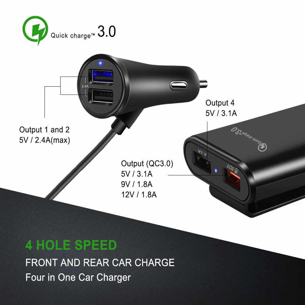 USB شاحن سيارة 4 منافذ QC3.0 + 2.4A + 3.1A USB شاحن سيارة USB محول سريع مع 5.6ft تمديد الحبل كابل لسيارة الهاتف