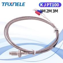 400 800 graus m6 parafuso k j pt100 1m 2m 3m cabo rtd termopar forno temperatura sensor industrial controll