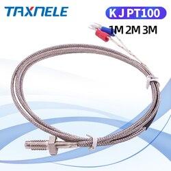 400 800 degree  M6 Screw K J PT100  1M 2M 3M Cable RTD Thermocouple Oven Temperature Sensor Industrial Temperature Controll