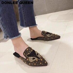 Image 3 - Women Slippers Slides Flat Casual Shoes Women Slip On Mules Fox Pattern Bling Rhinestone Rivet Slipper Women Flip Flops Mujer 19