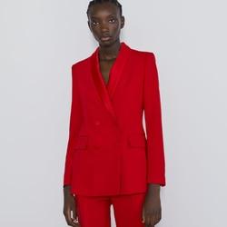 ZA 2019 осенний и зимний женский пиджак, модные официальные модели, двубортный свободный Блейзер средней длины с длинными рукавами