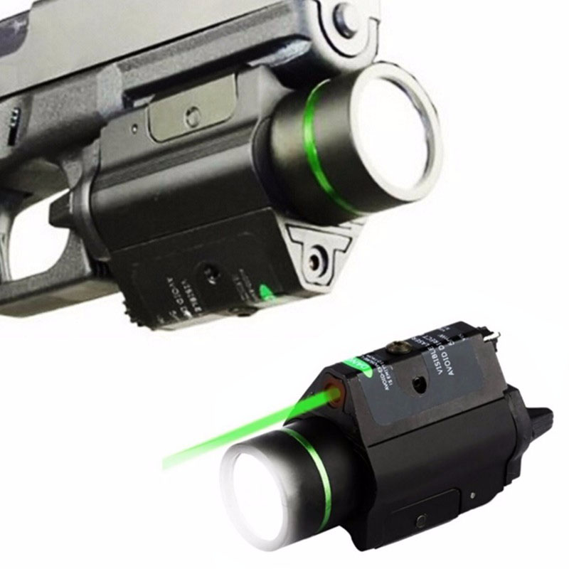 Tactical Green Laser Sight with LED Flashlight 2 in 1 Combo 20mm Mount Ultra Bright 225 lumen for Glock 17 Hunting-0
