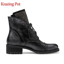 Krazing pot genuine leather round toe lace up thick med heel starry diamond decoration vintage rivets motorcycle ankle boots l52