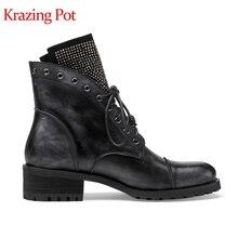 Ботильоны Krazing pot из натуральной кожи с круглым носком, на шнуровке, на толстом среднем каблуке, со звездным украшением из страз, винтажные мотоциклетные ботинки с заклепками, l52