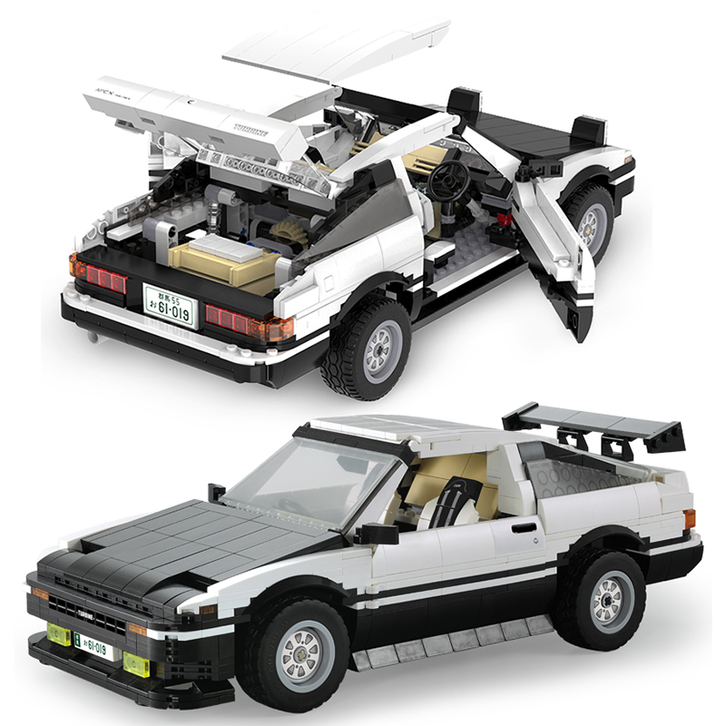 Cada 1234 pçs ae86 drift racing blocos de construção do carro técnica cidade velocidade super esportes veículo modelo tijolos crianças brinquedos presentes