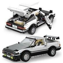 Cada 1234 pçs alta-tecnologia ae86 drift carro de corrida blocos de construção cidade velocidade super veículo carro esportivo modelo tijolos crianças brinquedo presentes