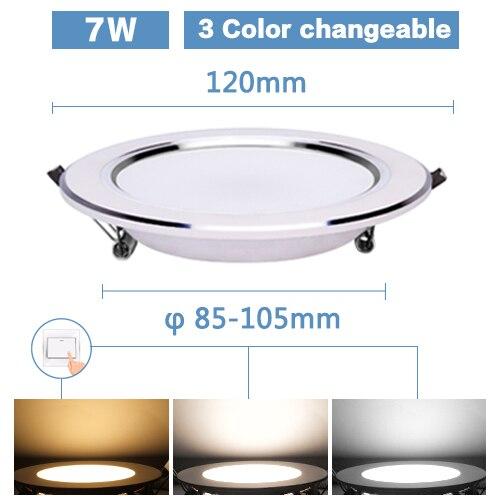 Светодиодный светильник 3 Вт, 5 Вт, 7 Вт, 9 Вт, 12 Вт, 15 Вт, Круглый встраиваемый светильник 220 В, 230 В, 240 в, 110 В, домашний декор, спальня, кухня, внутреннее точечное освещение - Испускаемый цвет: 7W 3 Color option