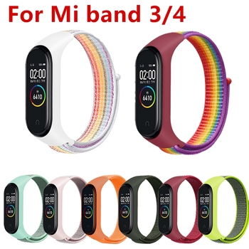 Replaceable For Xiaomi Mi Band 3 4 5 Strap silicone Nylon Bracelet Sport Wristband band Smart Watch miband