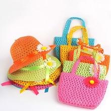 Летняя Детская Солнцезащитная шляпа для девочек, детская соломенная шляпа, летняя детская пляжная шляпа, дышащая сумка с цветами, комплект из шляпы и сумочки для маленьких девочек
