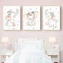 Маленький слон с цветами постер дизайн со звездами розового