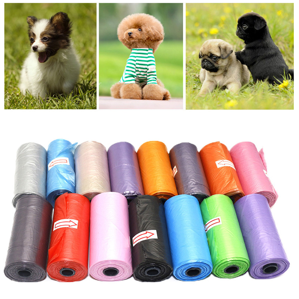 15bag/1Roll Dog Poop Bag Pet Pick Up Plastic Garbage Bag Thick Convenient Outside Toilet Clean Waste Trash Bag Garbage Dispenser
