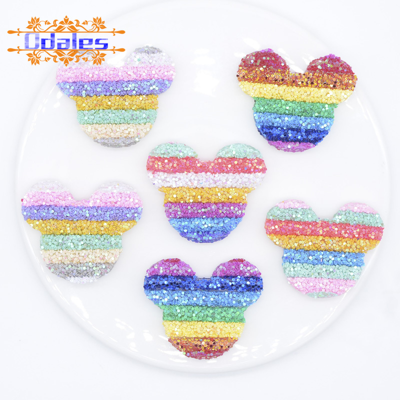 6Pcs 48mm Cartoon Mouse Head Sequins Pipe Patches Baby Girls Crafts Hairclip Hat Shoes Kids Princess Headwear Animal Accessory