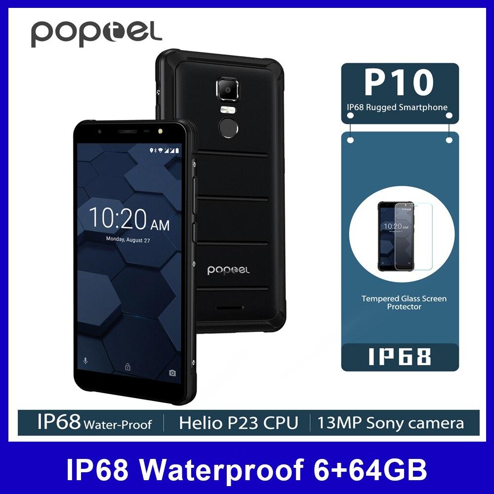 Poptel P10 4G Handy IP68 Wasserdichte Octa Core 64G 6G 13MP Cam 5,5 Zoll Handy NFC fingerprint Entsperren 3600mAh Smartphone