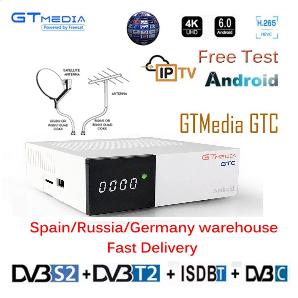 GTmedia GTC Android TV BOX Receptor DVB-S2 DVB-C DVB-T2 ISDBT Amlogic S905D 2G+16G 1 Year CCCAM Satellite Receiver TV Box IPTV
