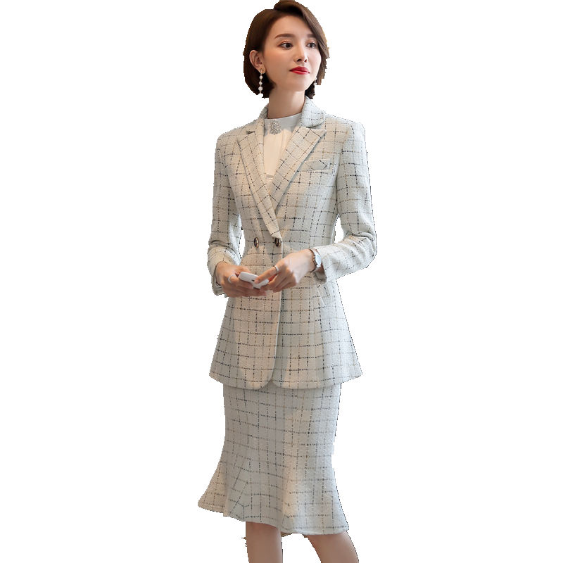 Fashion Women Skirt Suit Plaid Blazer And Skirt 2 Piece Set 2019 High Quality Elegant Full Sleeve Suits For Winter Thick Fabric