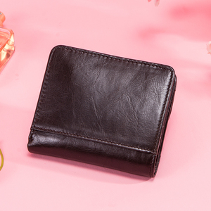Image 5 - Contacts Genuine Leather Wallets Women Money Clips RFID Card Wallet Femal Purse Money Clip Small Coin Wallets Hasp Portomonee