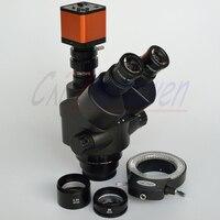 Fyscope 16mp hdmi 60spf novo microscópio preto 3.5x-90x simul-focal trinocular zoom estéreo microscópio cabeça + 144led