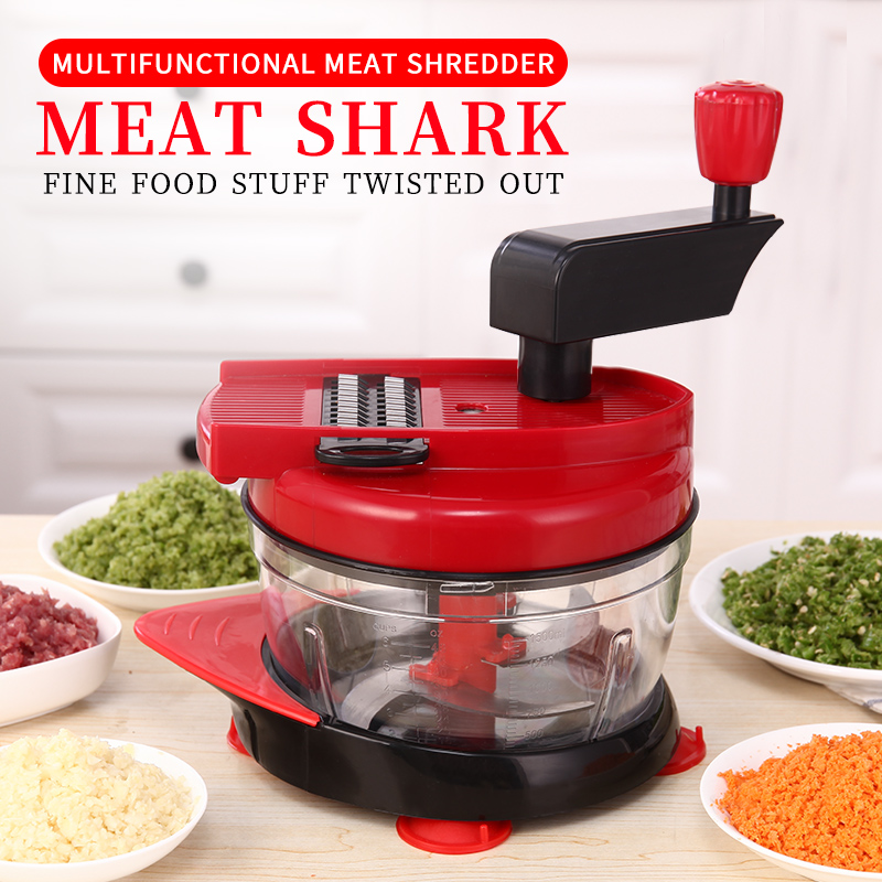 Multi-function Vegetable Cutter Manual Meat Grinder Household Chopper Machine Mincer 6 Kinds Of Blades Switch With Drain Basket