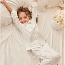 Autumn Winter Girl's Cotton Pajamas Long Sleeve Single Breasted Pyjamas Sleepwear Big Body Weekend Home Morning Wear For Kids