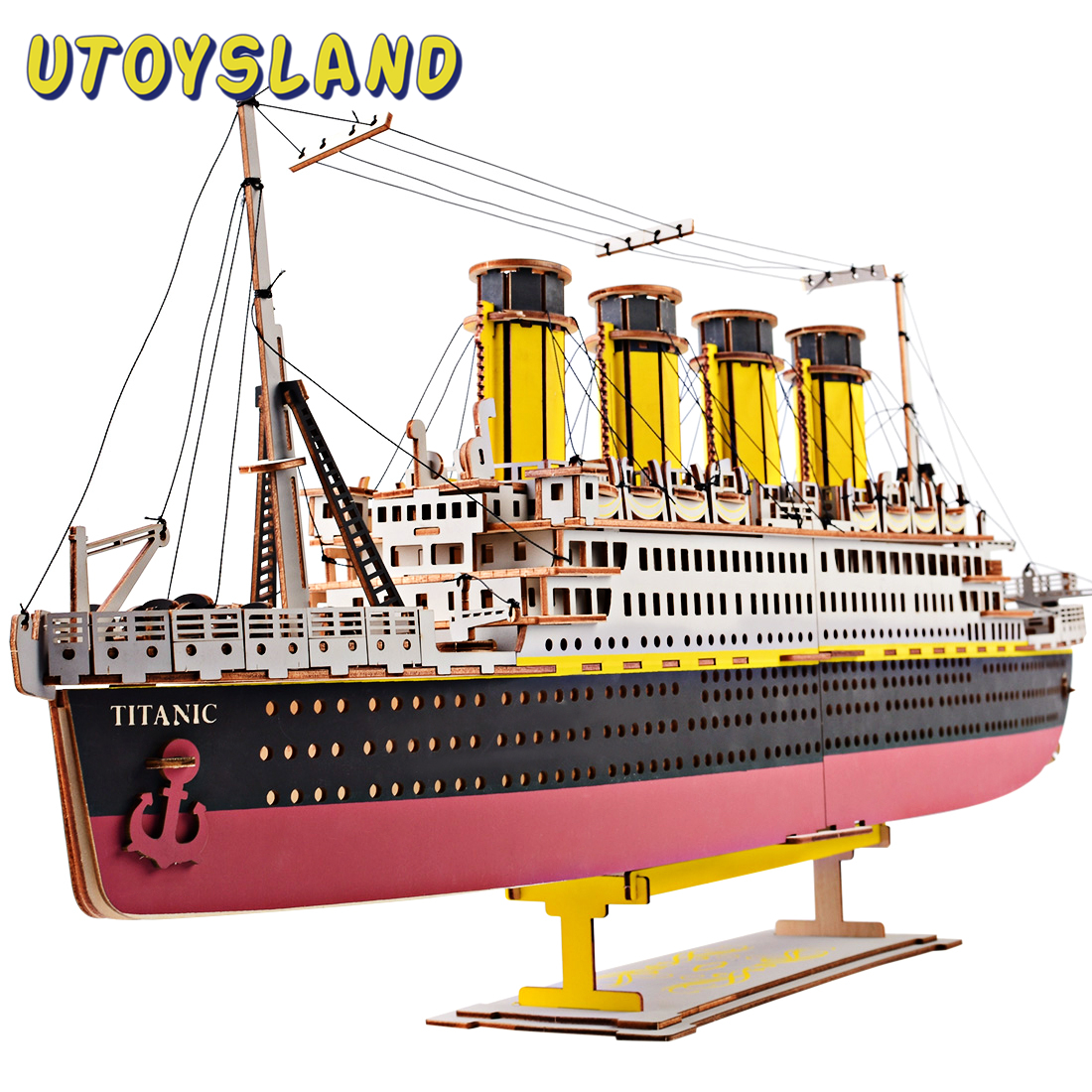High-Precision Laser Cutting Puzzle 3D Wooden Jigsaw Model Children Intelligence Developmental Toys Model Building Kit - Titanic